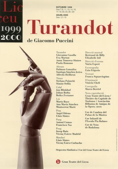 Cartell 'Turandot' de l'any 1999.